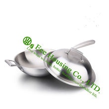 stainless steel woks cookware kitchenware free shiping hotsale non-smoking,non-stick,fry pan with ss lid,new kitchen products
