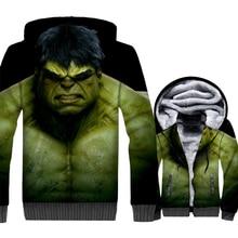 Super Hero Hulk Jacket Men 3D Print Hoodie Hipster Hooded Sweatshirt Winter Thick Fleece Warm Fitness Coat Harajuku Streetwaer цена и фото