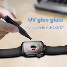 For Apple Watch 38mm 42m 40mm 44mm Full cover Screen Protector i 4 3 2 1Series UV Nano Liquid full Glue Tempered Glass