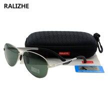 RALIZHE Top Quality Brand Designer Fashion Women Polarized Sunglasses Aviation Unisex Metal Classic Green Glasses Driving UV400