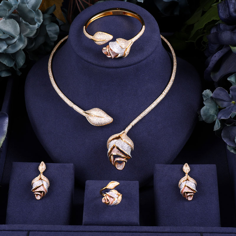 Accking Rose flower 4 pcs Bridal Jewelry Sets New Fashion Dubai Full Jewelry Set For Women Wedding Party Accessories DesignAccking Rose flower 4 pcs Bridal Jewelry Sets New Fashion Dubai Full Jewelry Set For Women Wedding Party Accessories Design