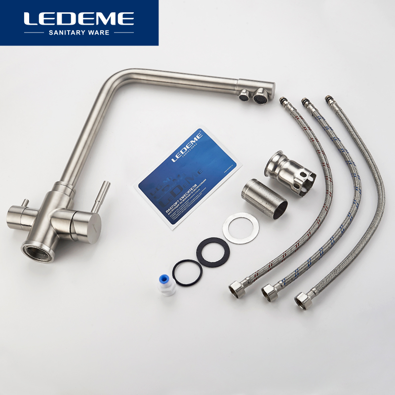 LEDEME Kitchen Faucet with Filtered Water Double Spout Water Purification Stainless Steel Kitchen Tap Sink Mixer Crane L4355-3