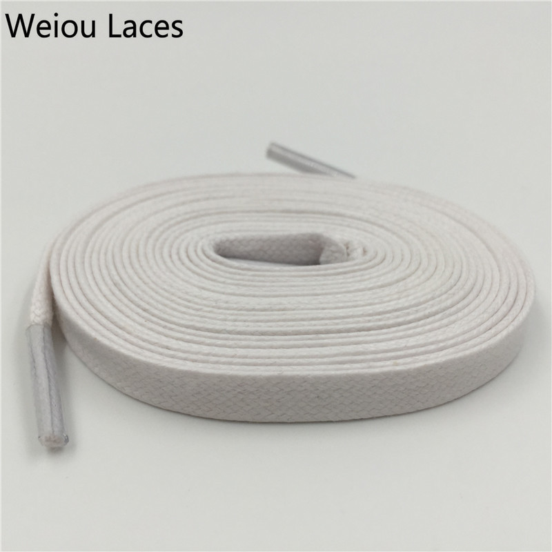 Weiou Hot 8mm Width Flat Waxed Shoelaces Wide Colored Cotton Shoe Laces Waterproof Uni Strings Cord For Leather Shoe Boots