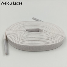 Weiou Hot 8mm Width Flat Waxed Shoelaces Wide Colored Cotton Shoe Laces Waterproof Unisex Strings Cord For Leather Shoe Boots