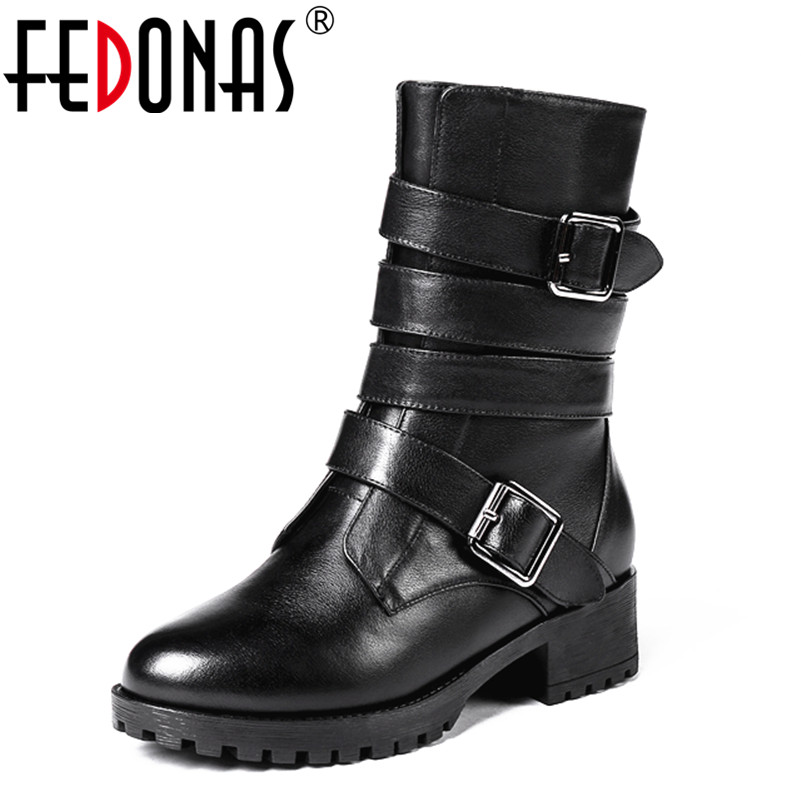 FEDONAS Top Quality Women Genuine Leather Boots Square Heels Autumn Winter Warm Snow Boots Shoes Woman Sexy Motorcycle Boots new high quality genuine leather boots rivets square heels autumn winter ankle boots sexy fur snow boots shoes woman size