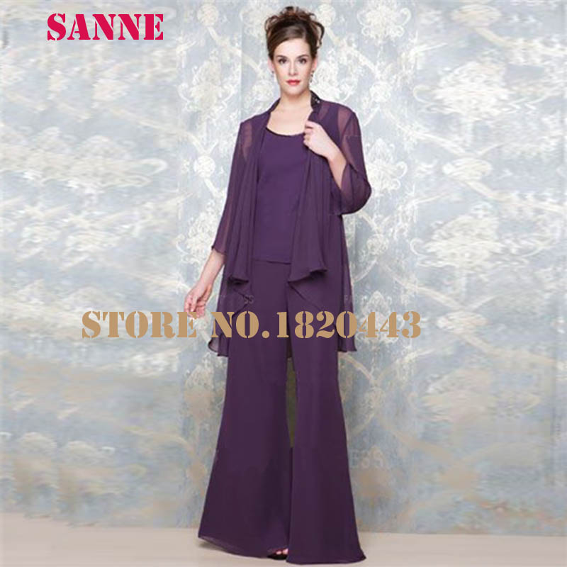 d66160f4343 Vestido De Madrina 3 Pieces Mother Of Bride Pant Suits With Jacket Chiffon  Purple Wedding Pant Suits For Women-in Mother of the Bride Dresses from  Weddings ...