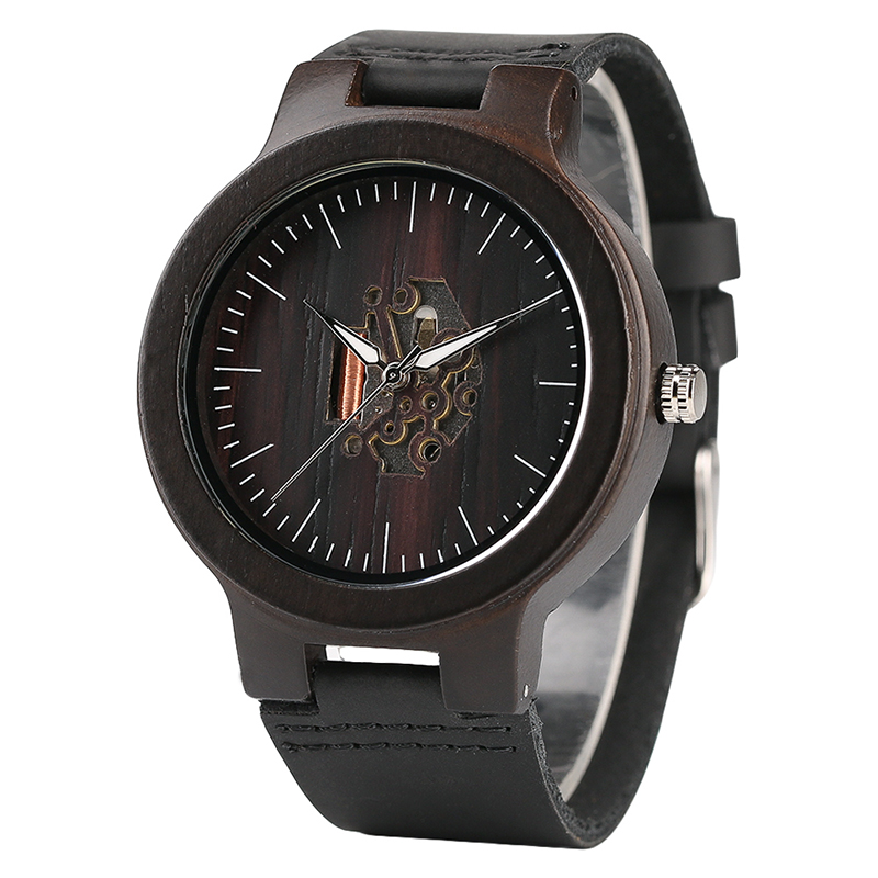 Fashion Men Wood Watches Luxury Genuine Leather Brand Simple Bamboo Hand-made Wrist Watch xml made simple
