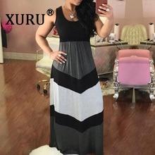 XURU summer new hot sale dress womens long O-neck sleeveless striped patchwork loose casual beach