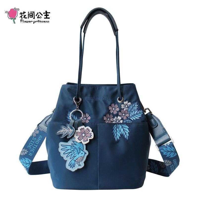 Flower Princess Original Women Handbags Embroidery Bucket Bag for Women Nylon Waterproof Shoulder Bags Female Composite