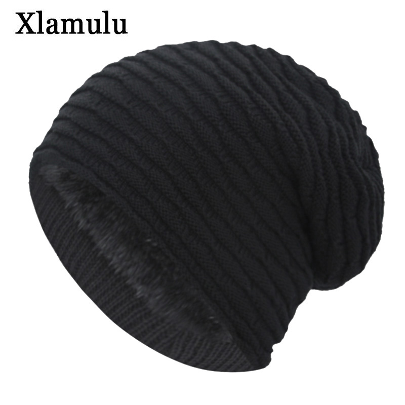 Xlamulu Fashion Women   Skullies     Beanies   Knitted Hat Winter Hats For Men Baggy Thick Bonnet Mask   Beanie   Male Gorros Bonnet Hat Cap