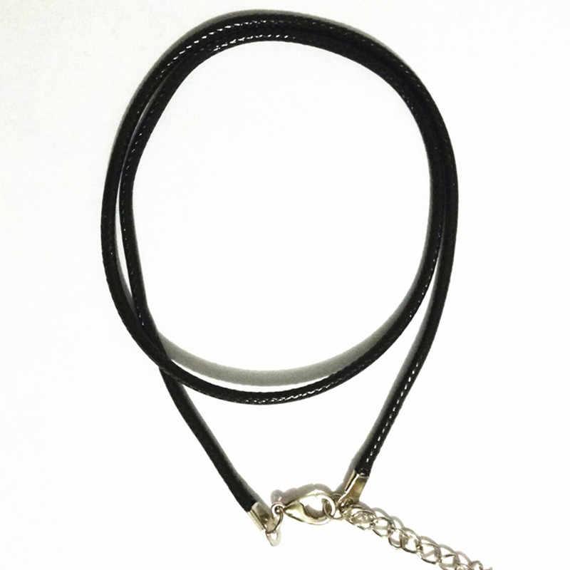 N697 skręcony pleciony sznur 2mm czarny PU Leather Cord naszyjnik łańcuch srebrna zapinka String liny mężczyźni kobiety gargantilha wysokiej jakości