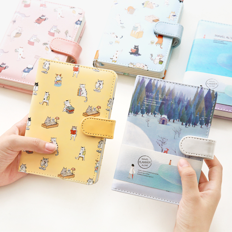 Fromthenon Kawaii Notebook Creative Illustration Color Paper Thick Notebook Line & Blank Planner For Girls Kids School Supplies fromthenon korean metal cover notebooks and journals creative kawaii stationery color paper blank planner office school supplies