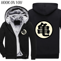 2017 Winter Mode Mannen Tops Gedrukt Comfortabele Fleece Anime Dragon Ball Z Master Roshi Thichen Hoodie Casual Goku Thermische Jas