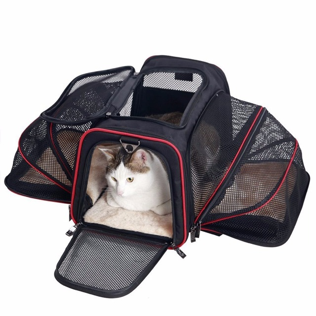 a7fa2312cbdd Pet Carrier for Dogs Cats Expandable Foldable Soft Animal Carriers Airline  Approved Portable Soft-Sided