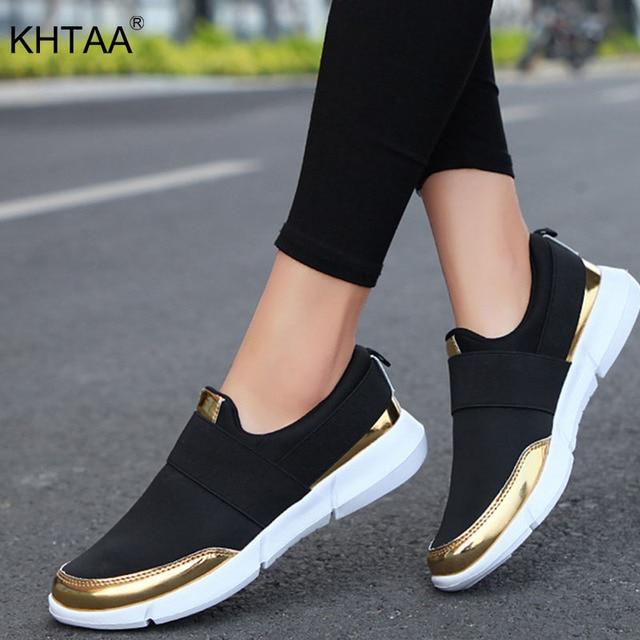 KHTAA Kadınlar vulkanize ayakkabı Platformu Sneakers Bahar Üzerinde Kayma Streç Kumaş Flats Bayanlar Rahat Nefes rahat ayakkabılar 2019