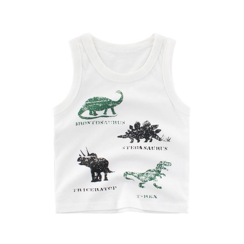 New Summer Boys T Shirt Cotton Sleeveless Cartoon Dinosaur CottonT Shirt For Boy Tops Tees Outwear Clothing Baby Kids Clothes