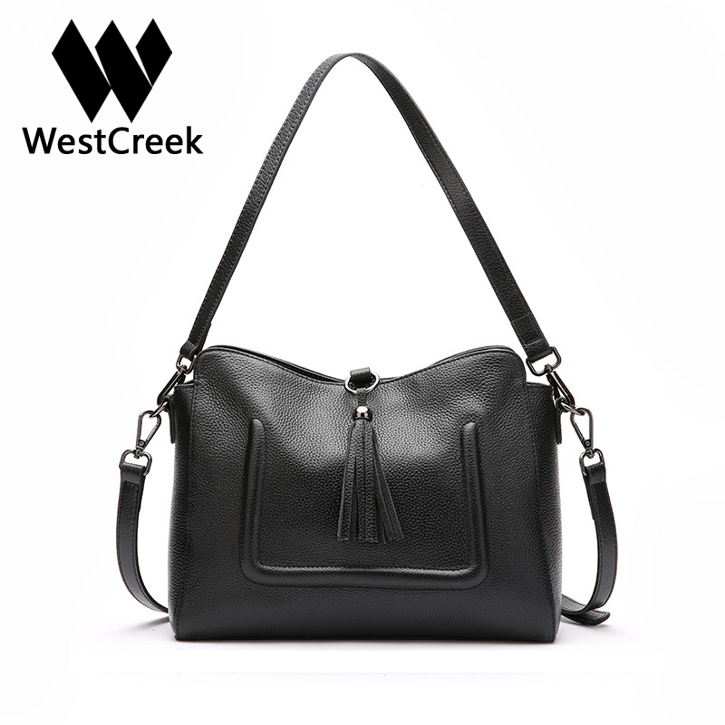 Westcreek Brand Genuine Leather Women Fashion Tassel Handbag Large Capacity Lady Totes Simple Shoulder Female Messenger Bag 100% genuine leather women bags luxury serpentine real leather women handbag new fashion messenger shoulder bag female totes 3