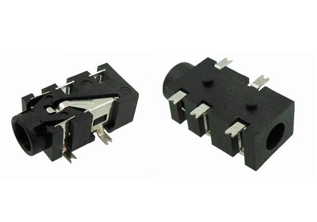 10pcs Phone Jack Diameter 3.5mm 5 pin audio socket for 4 poles earphone plug SMD type reflow solderable with locators DC30V 0.5A