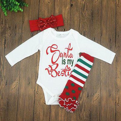 Newborn Baby Girl Romper Bodysuit Jumpsuit Santa is my Bestie Xmas Outfits 3pcs 2017 sequins mermaid newborn baby girl summer tutu skirted romper bodysuit jumpsuit headband 2pcs outfits kids clothing set