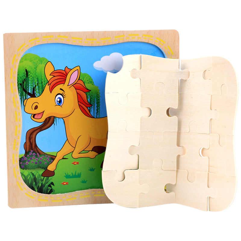 Modello animale Di Legno Giocattolo di Puzzle di puzzle di legno del giocattolo del bambino giocattoli educativi regali per i bambini