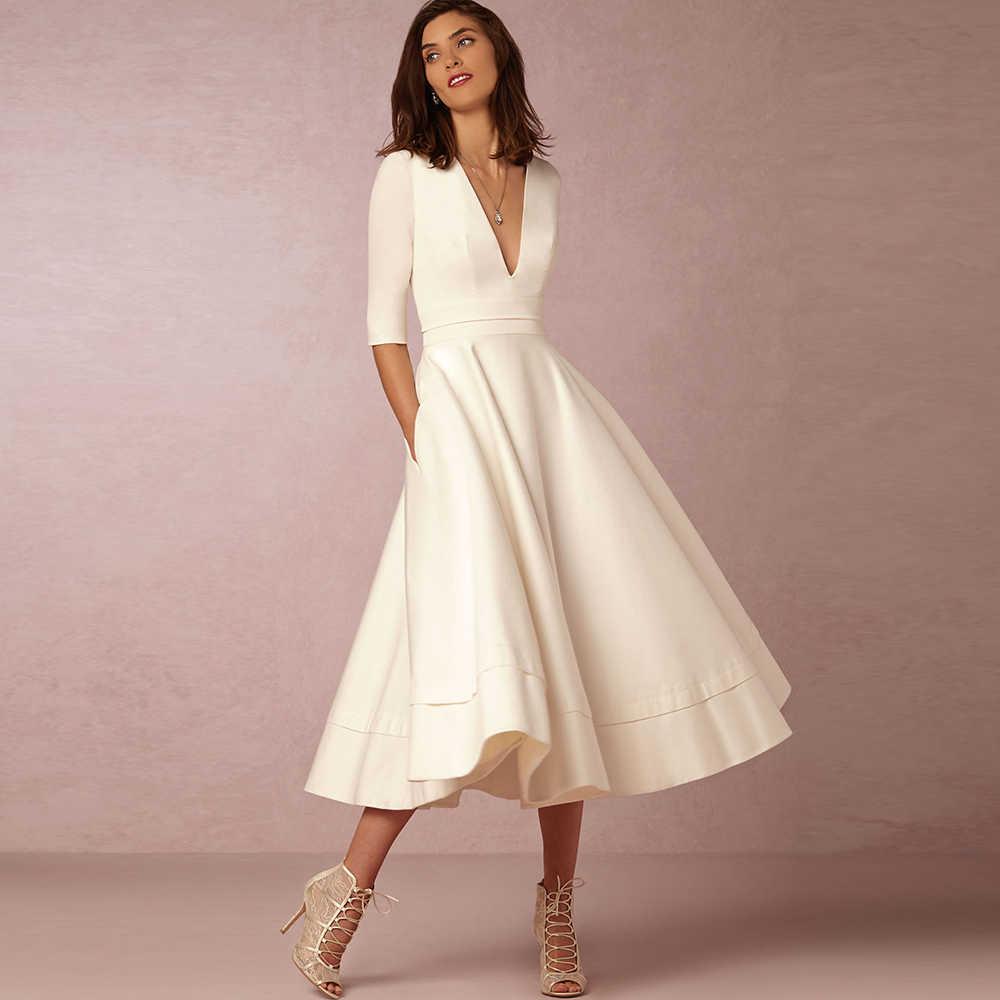 Dower Mich Modest Elegante Frauen Kleid Tiefe V Neck Midi A-linie Vestido  Hochzeit Partei Halbe Hülse Plus Size Schaukel Herbst weiß Kleid