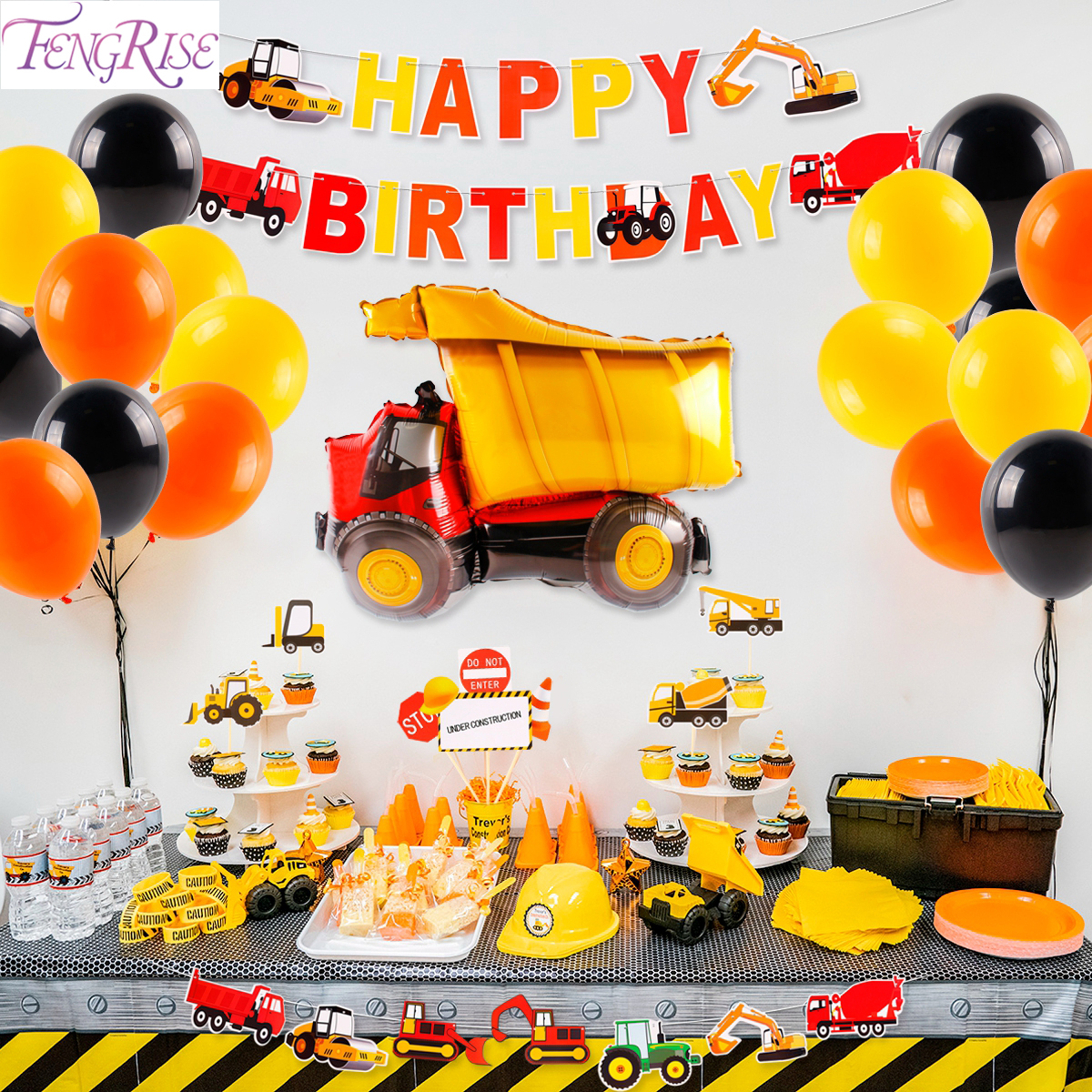 Construction Party Decorations Truck Party Car Birthday Decor Tractor Excavator Vehicle Construction Birthday Party Supplies Party Diy Decorations Aliexpress