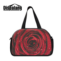 Dispalang 3D red rose printing womens travel bags weekend bag fashion flower design portable duffle luggage bag for girls retail