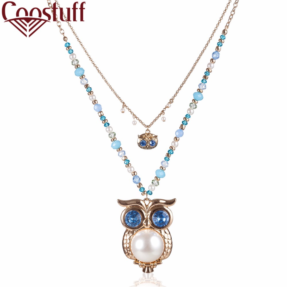 2017 Vintage Women jewelry statement necklaces & pendants 2 Layers Owl Pendant necklace women collares Chokers collier