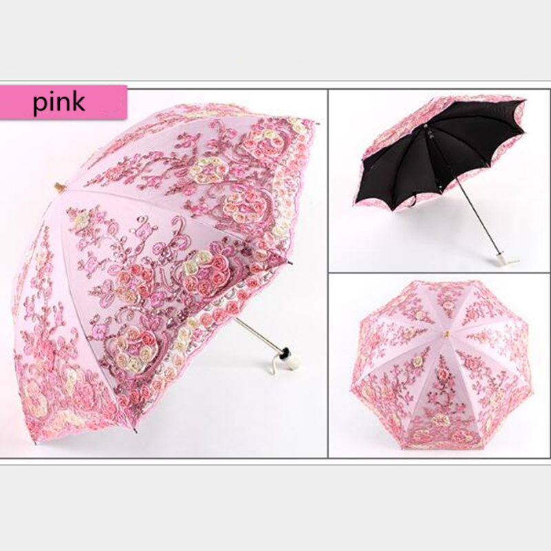 1PC Two Fold Double Fold Vintage Lace Embroidery Umbrella Black Plastic Sunscreen Embroidery Umbrella FPW9256 1Bridal Umbrellas   -
