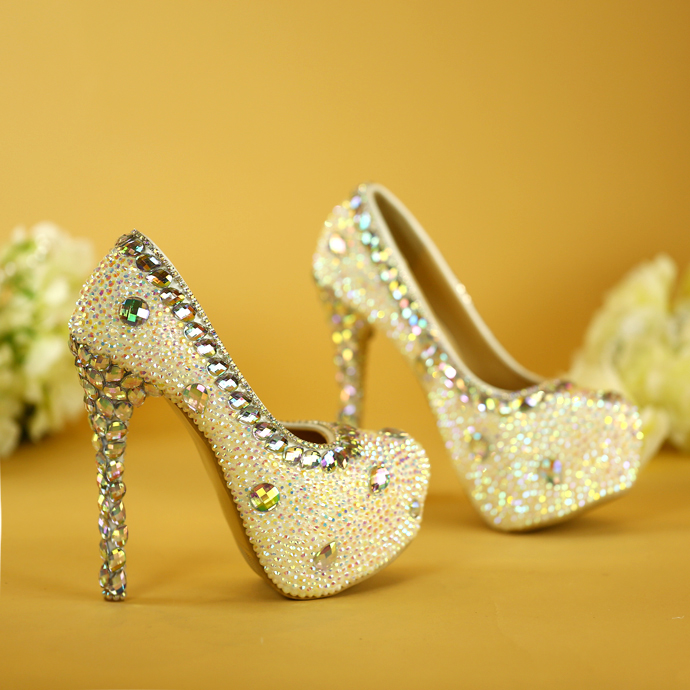 High heels rhinestone crystal bride shoes wedding shoes dress dinner ceremony party shoes women's singles shoes super higher sparkling ab crystal red wedding high heels shoes rhinestone fashion bride dress shoes matric graduate farewell ceremony shoes