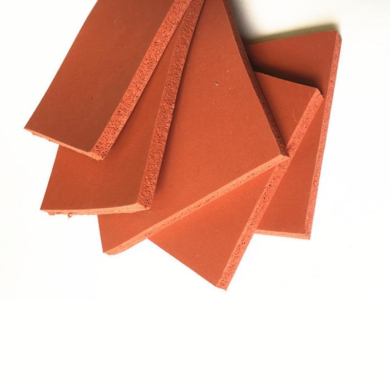 Silicone Foam Sponge Plate Sheet Board Heat Insulation Blanket Strip Square 500 X 500 X 1mm 2mm 3mm Red