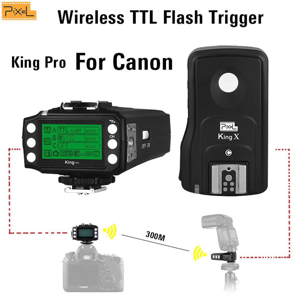 Pixel King Pro For Canon Wireless TTL Flash Trigger High speed sync Off-camera Hot shoe flash 6D 7D 50D 40D 30D 20D 10D 650D viltrox fc 16 off camera flash trigger w light control trigger black