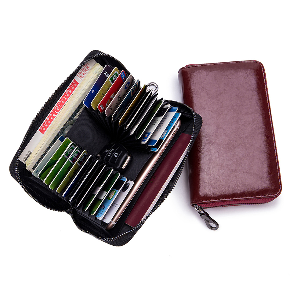 Wallet Purses Card-Holders Business RFID Female Genuine-Leather Woman High-Capacity