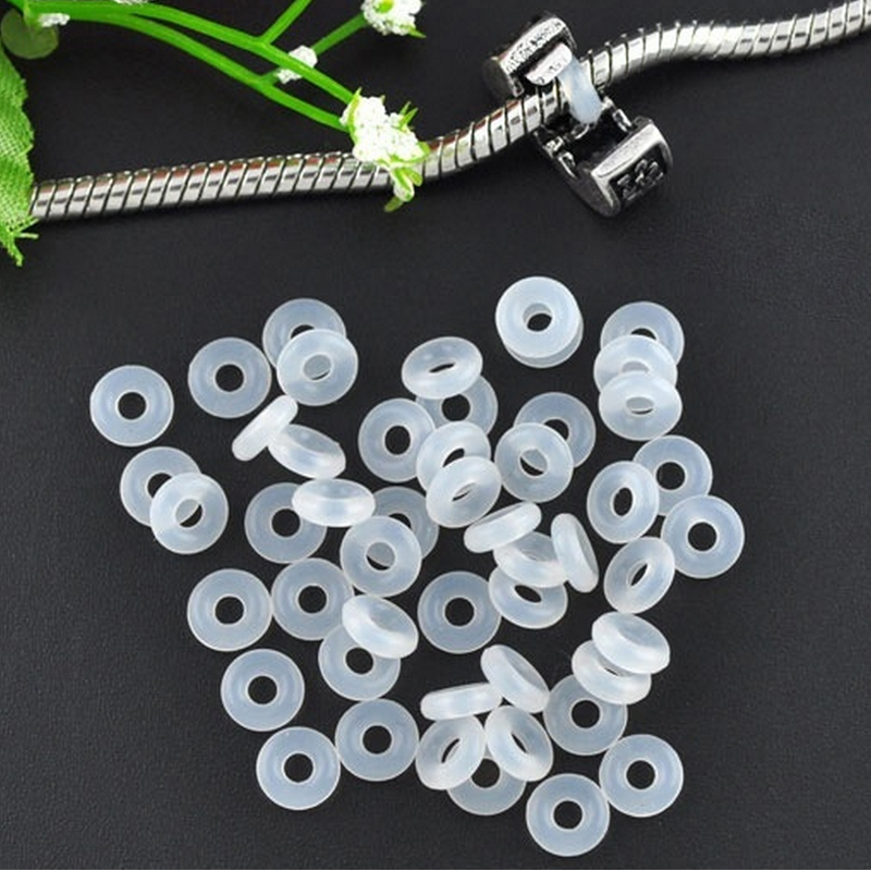 Bead Charm Bracelets: Free Shipping 20pcs White Rubber Clip Charms Safety