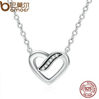 BAMOER 100 Authentic 925 Sterling Silver Ribbons Of Love Clear CZ Pendants Necklace For Women Fine