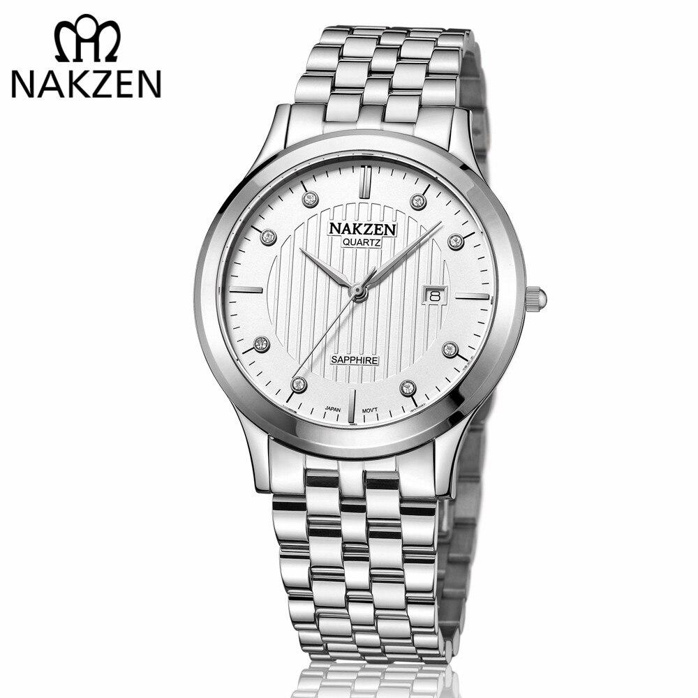 Nakzen ouro relógio de quartzo marca superior relógios masculinos de luxo moda aço inoxidável relógios de pulso masculino relogio masculino
