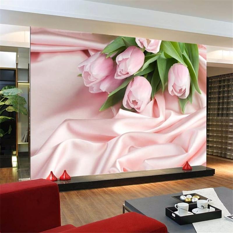 beibehang Custom 3D photo wall paper Pink Rose TV backdrop flower ...