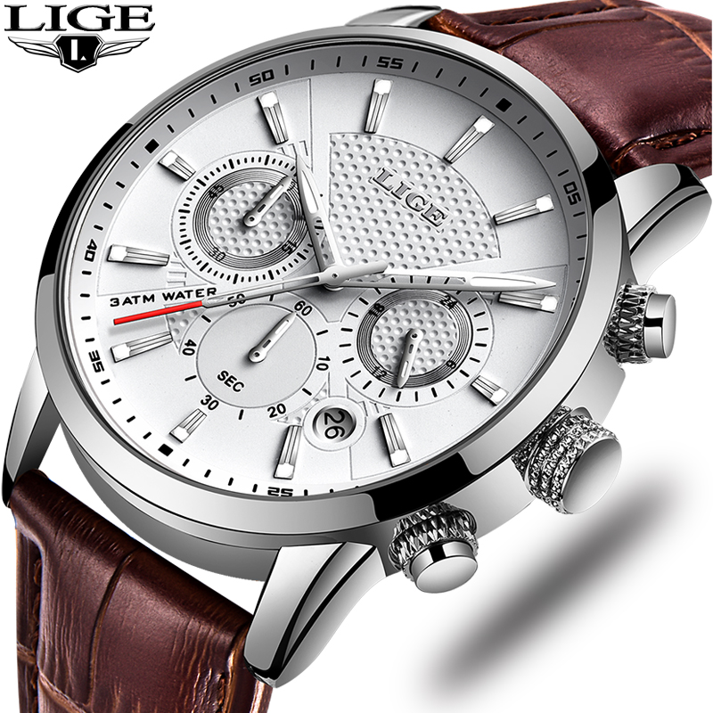 LIGE Mens WatchesTop Brand Luxury Sports Chronograph Stopwatch Date Luminous Hands Genuine Leather  Waterproof Quartz Wtach Men