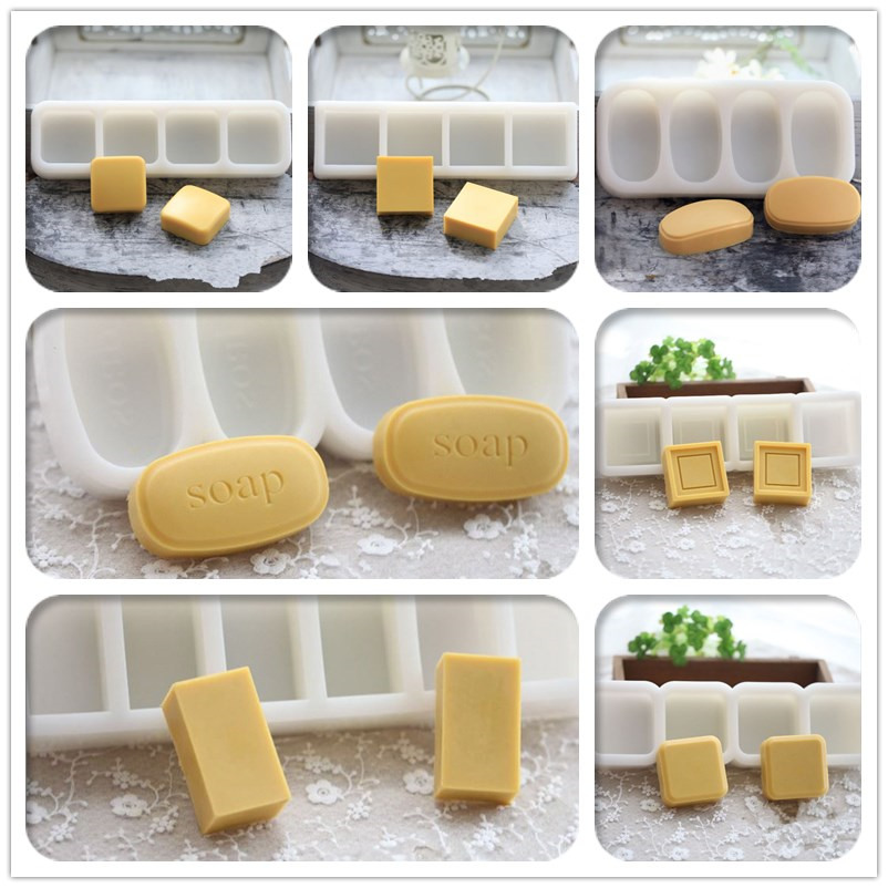 Oval silicone soap molds DIY handmade clay molds square shaped soap - Kitchen, Dining and Bar