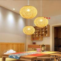 Hemp Ball Chandelier European Fashion Contracted Contemporary Dining room Light Rural Cany Art Pendant Lamp Sitting Room Bedroom