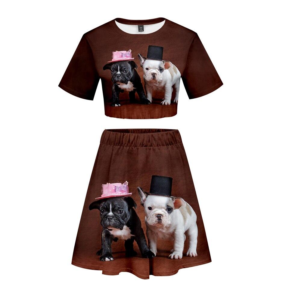 Aufrichtig Französisch Bulldog 3d Gedruckt Frauen Zwei Stück Set Mode Sommer Kurzarm Crop Top + Rock 2019 Heißer Verkauf Casual Streetwear Kleidung Dauerhaft Im Einsatz