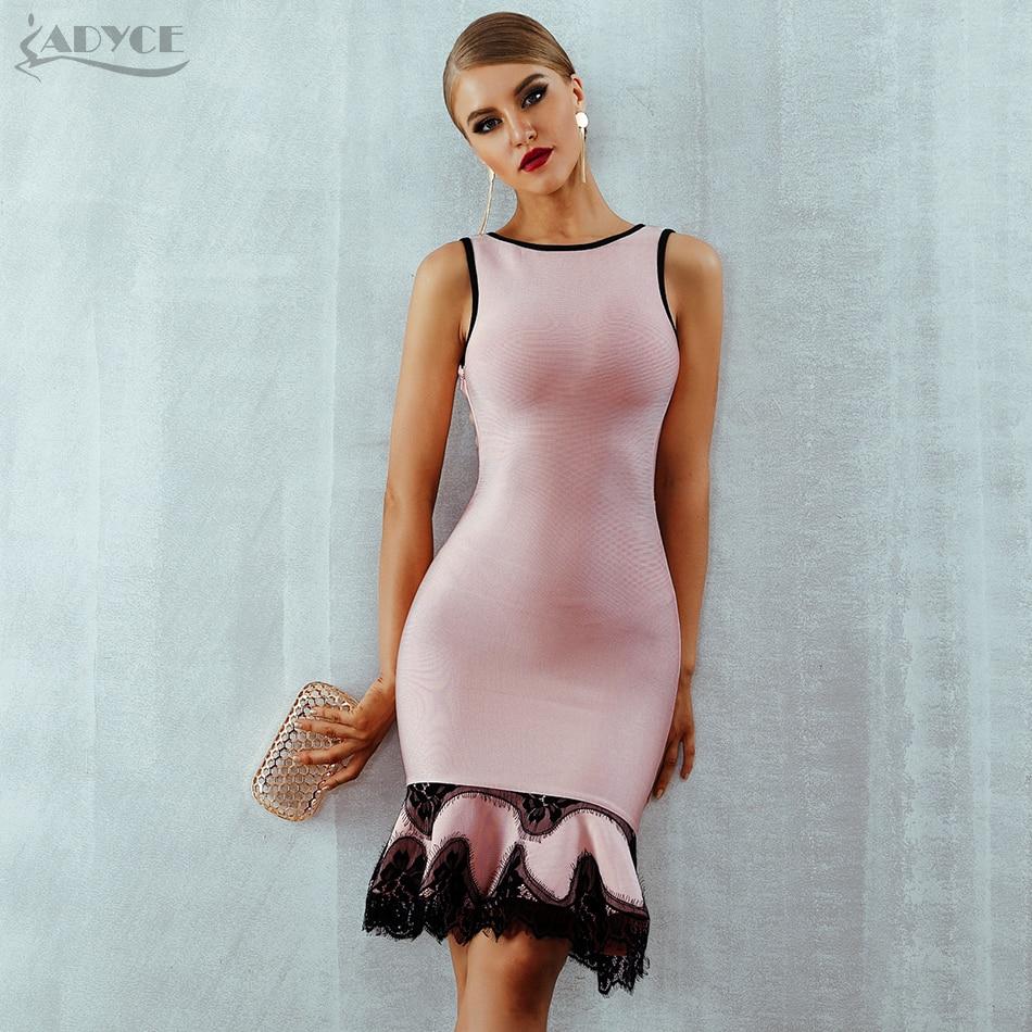 Adyce 2019 Women Summer Bandage Dress Vestido Pink Lace Up Backless Mermaid O Neck Tank Dress