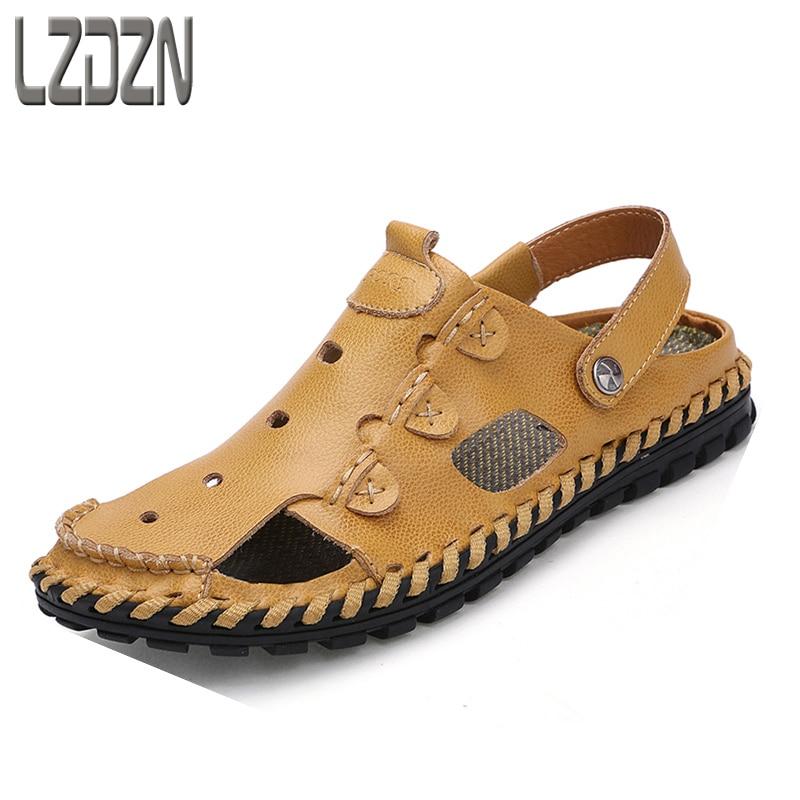 باوتو المد الصنادل الجلدية ، والصيف الكورية أحذية الرجال كسول ، والتهوية الصيف السحب نصف الرجال جوفاء الترفيه بارد ممسحة