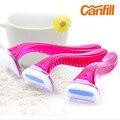CANFILL 3 pedazos de Las Mujeres Navalha de Afeitar Manual de la Maquinilla de Afeitar de Seguridad Reemplazable Recta Peluquero Razor Para La Mujer Trimmer Triple