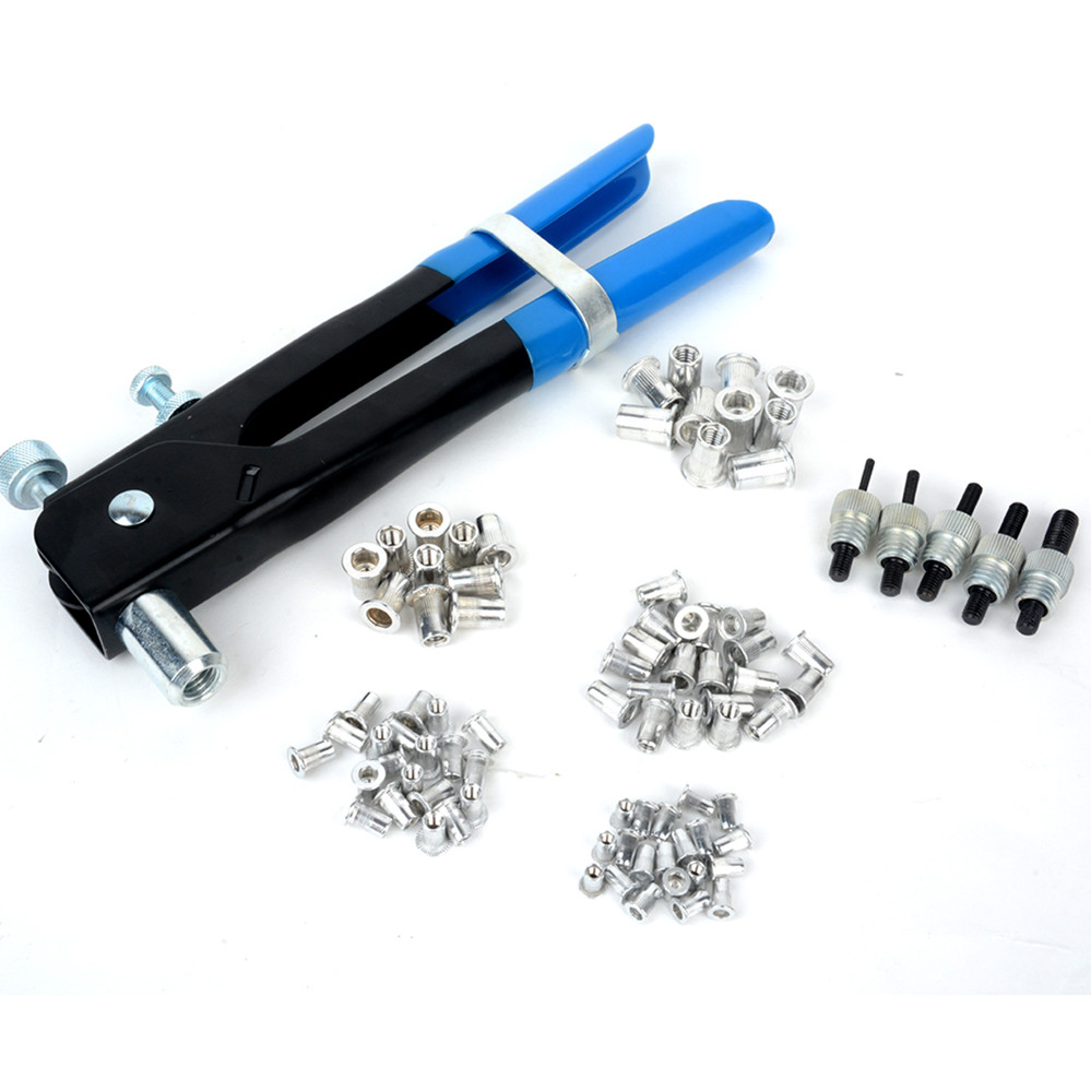 86pcs/set Nut Rivet Tool Kit Threaded Nut M3-M8 Insert Heavy Duty Riveter Rivnut Nutsert Riveting Kit pop rivet tool riveter gun with 60pcs steel blind rivets repair tools kit heavy duty hand tool set for metal woodworking