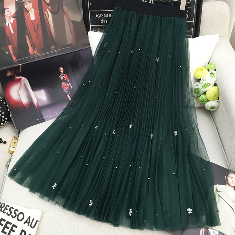 2018 Queeen Femininas Fashion Jupe Femme Summer Elastic High Waist Mesh Midi Skirts Women Beading Slim Vintage Pleated Skirt