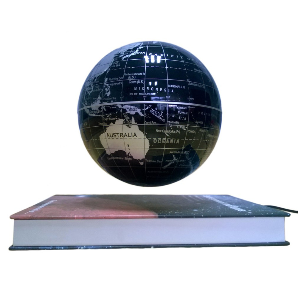 Black Color 6 Magnetic Rotating Globe Anti-Gravity Floating Levitating Earth 360-degree  ...