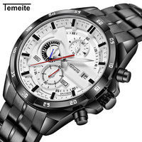 TEMEITE Top Brand Luxury Quartz Watch Men Chronograph 3 Dials 6 Hands Calendar Multifunction Fashion Oversize Wrist Watches 2018
