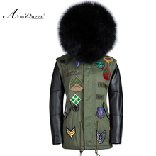 black leather mens parka fur hood with faux fur inside and fox fur collar