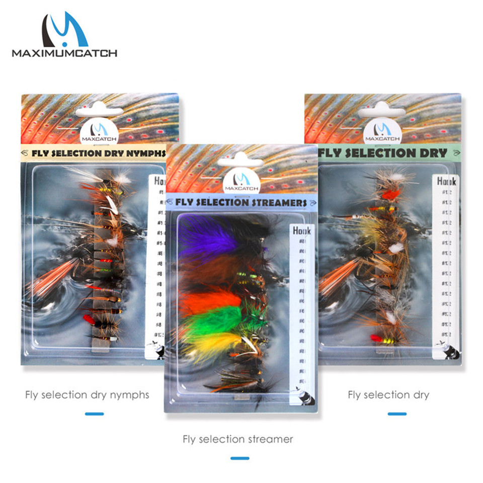 Maximumcatch Hand Tied Fly Flies Set #2-#14 Dry Nymph Trout Streamer Wet Fly Flies